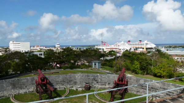 We went to Junkanoo which was incredible. You can see those pictures in a different folder.  We also visited a couple of forts. Here is a view of the cruise ships from Fort Fincastle.