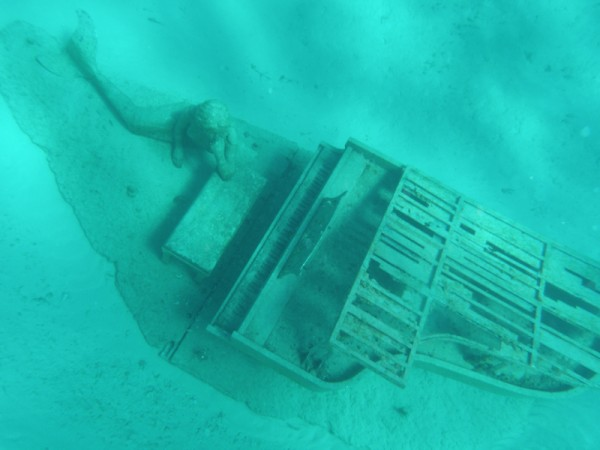 We went to Rudders Cut Cay and found the piano sculpture that David Copperfield had commissioned to be sunk there. It was very hard to snorkel over it when we went because the current was so strong.