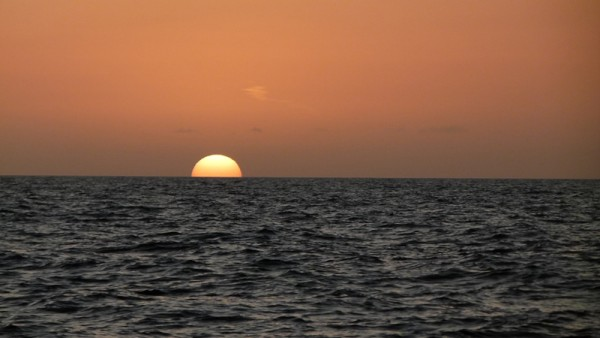 We sailed through the night to get from Miami to Nassau without stopping.  Here is the sun setting over the Great Bahama Banks.