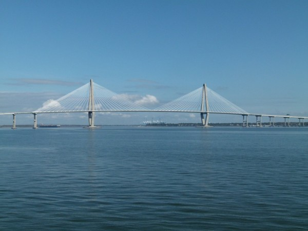This is one of the Charleston bridges. We did not have to go under this one but we saw it from the boat tour we took.