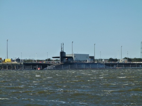 Here is a submarine. We read that when they are moving submarines in or out they close the ICW until they are finished.  It was so windy that day I