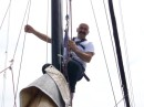 Darren checking out the rigging while we are an anchor