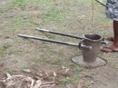 Kava urn and staffs for pounding the kava root