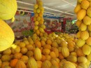Fruit shop decorated with bountiful melons