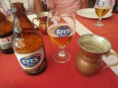 Lunchtime drinks - ice cold Efes beer and chilled Ayran (yoghurt and water drink) served in a Turkish style mug