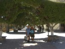 Carol from sv Evergreen and Tracey enjoy the central plaza in Loreto