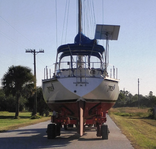 Trailering to the launch well in another boat yard