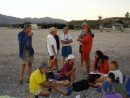 At the pot luck dinner along the beach in Los Frailes waiting out the wind.  The wind won!!