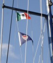 The Mexican courtesy flag flying from our mast spreaders.