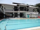 The pool and club house at the Sandakan Yacht Club.