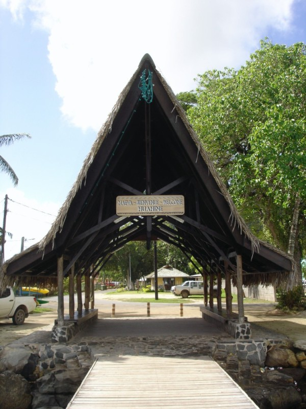 The welcome sign is out at Fare, Huahine!!