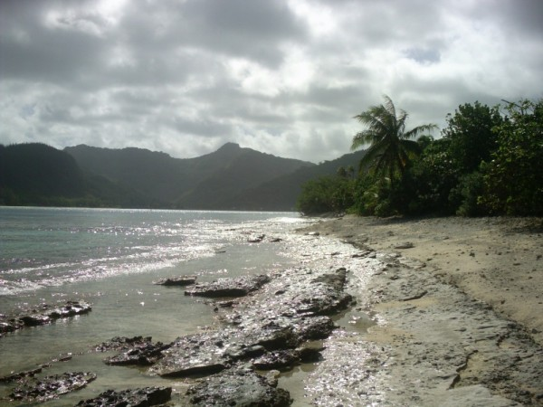 The slabs of coral along the south shore of Huahine near Avea Bay.
