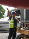 John Laird, fine welder and super keen boat lifter, ensures all goes smoothly.