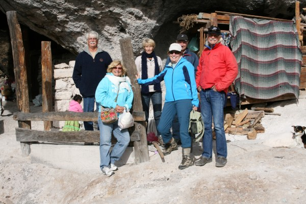 Jay, Terri, Barb, Mary, Kirk at cave at Indian Reservation