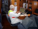 Crossing Sea of Cortez: Debbie updating the blog in the middle of the Sea of Cortez