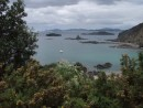 Volare in the amazing Black Rocks anchorage, Bay of Islands, Mussel anchorage