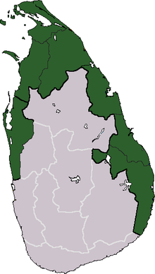 SRI LANKAN CIVIL WAR: This map of the island nation of Sri Lanka shows the area (in green) that was controlled by the revolutionary Tamil Tigers during their Civil War. This violent conflict really traumatized and scarred the country, and even today very few citizens are willing to open up and talk about their personal experience during the war...