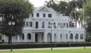 Formerly the headquarters of the Dutch West Indian Company, which established and colonized Dutch Guiana, this mansion is now the ceremonial headquarters of the President of Suriname.  Use you zoom-in and check out the beautiful frieze of the Dutch West India Company insignia in the mansion