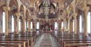 The interior of Sainte-Peter and Sainte-Paul Kathedraal is gorgeous; multiple layers of old paint have been removed, and the sanctuary has been restored to a warm natural wood finish.