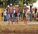 These local swimmers were loosening up and getting ready for the long swim to Paramaribo.