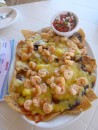 Shrimp nachos. With extra cheese.