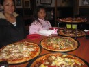 Another visit at Mystic Pizza, this time we ordered 6 giant pizzas, ended up taking one home. Defeated!