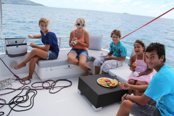 Lunch on the flybridge while underway