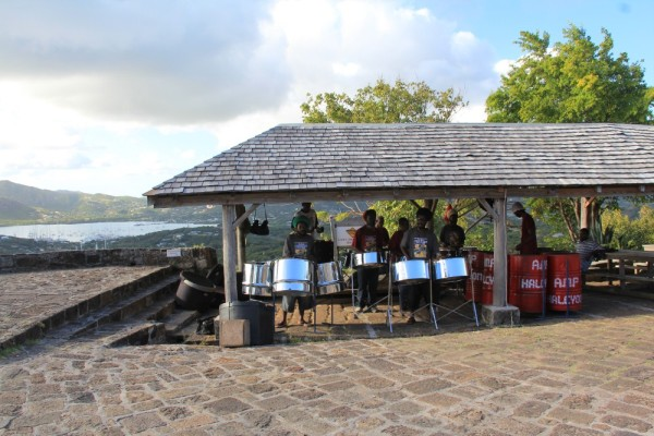 Steel band playing on top of the hill, overlooking English harbour