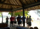 Welcoming guests in Nanuya resort: song and flowers!