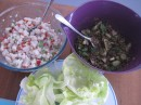 Healthy lunch: poisson cru & lentil salad