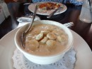 Seafood chowder, a north east specialty. Instead of buttery croutons, the americans prefer cracker biscuits in their soups. Hummm....Nantucket, MC