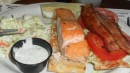 Salmon and bacon sandwich, with creamy coleslaw for salad! Savannah, GA