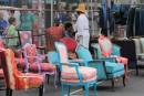 Sunday Flea Market in the UWS. Wish I could fit one of these chairs on the boat...