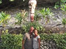 In front of a tiki at Bloody Mary