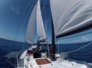 Sailing along towards New Zealand with all sails full; jib, main and mizzen.