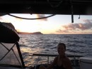 Arriving in the Marquesas at sunrise.