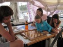 Still at Shelter Bay marina before the transit, a serious game of chess