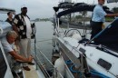 2nd day transit, our jolly captain, us tied together with Aussi boat Squander