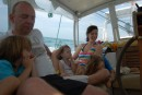 Mary, Lily, Neil and Sean, sleepy under roly passage