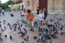 Kara and Joshua feed the birds downtown Cartagena