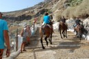 Santorini- a steep ride up from the harbor to the town