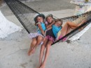 The 3 muskateers, Ava, Lydia and Kara. Ava and Lydia, aboard sv Toucan are from Colorada, and they became great friends during the time spent in San Blas