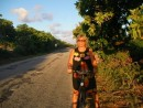 Linda cycling around Rangiroa