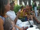 Bronwyn chatting to buskers Cartagena