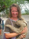Bronwyn and sloth outside Monastry Cartagena