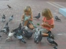 Amy and Jack feeding the pigeons outside Museo de Art Moderno