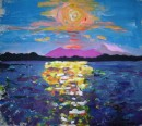 Noosa sunset, acrylic on paper