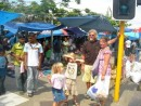 Bill, Bronwyn and kids outside the market Lautoka