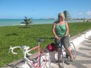 Cycling along Jacare beach