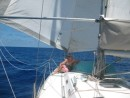 twin jibs cool breeze on foredeck